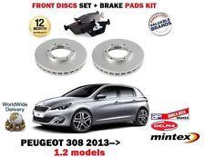 FOR PEUGEOT 308 1.2 VTI THP 2013 > NEW FRONT BRAKE DISCS SET + DISC PADS KIT