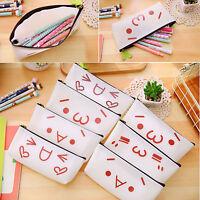 Cute canvas Emoji pen pencil case bag coin pouch make up purse cosmetic holder
