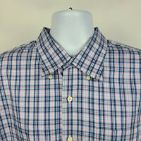 Peter Millar Blue Pink White Plaid Check Mens Dress Button Shirt Size 2XL XXL