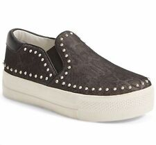 NIB ASH Sz3US KIDS GIRL JETTY STUDS SLIP-ON PLATFORM SNEAKERS PYTHON BLACK$120