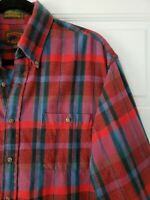 Vtg Boston Traders Button Down Plaid Flannel Shirt Single Needle Men Large Blue