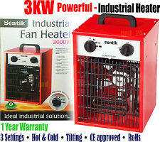 3KW INDUSTRIAL FAN HEATER - RECTANGLE RED - SPACE ELECTRIC WORKSHOP GARAGE SHED