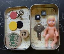 New Mixed Media Assemblage Art Shadowbox Titled CHILDHOOD MEMORIES Vtg Items