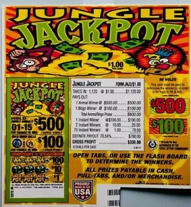 Jungle Jackpot Pull Tabs -Fundraising- 1120ct each - FREE Shipping