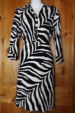 TALBOTS Black White Zebra Print Dress Size Petite Medium PM 8P 10P NWT