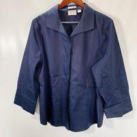 Chicos Size 3 Blouse Non Iron Button Front Shirt Long Sleeve 100% Cotton Blue XL