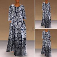 Women Long Sleeve Printed Plus Size Casual Long Dress Kaftan Loose Shirt Dress