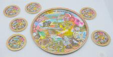 Vintage Great Smoky Mountains Souvenir Metal Tray & Coasters, Colorful Barware