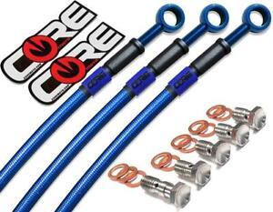 Blue Hose /& Stainless Green Banjos Pro Braking PBK2805-BLU-GRE Front//Rear Braided Brake Line