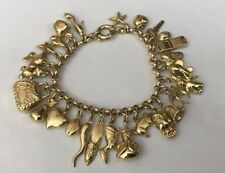 194691b3935 Vintage Hallmarked 9ct 9k Yellow Gold Charm Bracelet 26 Charms 38.9g Bolt  Ring