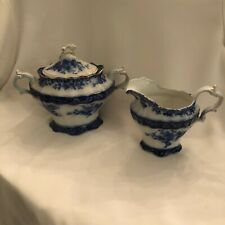 New listing Flow Blue creamer and sugar bowl. Stanley Pottery Co. England.