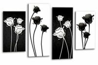 Floral Wall Art Black White Grey Flower Print 4 Panel Canvas Abstract Picture