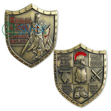 Armor of God Crusaders Red Cross Challenge Coin Shield Badge Lord Bible Prayer