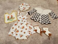 1970s vintage Baby Clothes 70s Rabbits cardigan hat doll costume