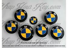 BLUE & YELLOW CARBON FIBER ALL BMW Badges Emblems Overlay FITS ALL BMW M SPORT