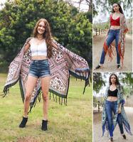 S-XL Boho Paisley Maxi Kimono Duster Woven Loose Fit Gypsy Hippie Long Cardigan