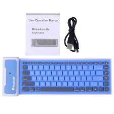 Waterproof Wireless Folding Soft Bluetooth Keyboard For Tablet PC Black& Blue