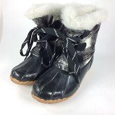 SPORTO Original Kim Faux Fur Lined Duck Boots Black White Plaid Women's Sz 7M