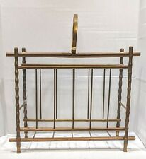 Vintage Copper Bamboo Accent Magazine / Book Rack Holder Mid Century Modern
