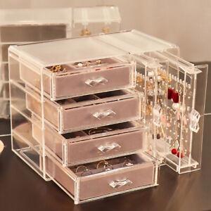 Jewellery Storage Organiser Box Acrylic Drawer Earrings Necklaces Display Holder