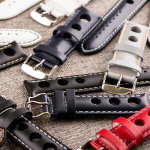 RALLY SMOOTH 3-Hole Leather Interchangeable Watch Band Strap