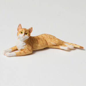 Dollhouse Falcon Miniature Orange Laying Cat 1:12 Scale Pet Animal Accessory NEW