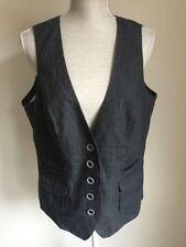 Button Hip Length Linen Plus Size Waistcoats for Women