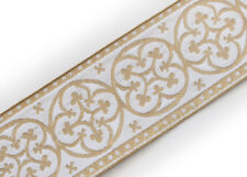 "2.25"" Church Vestment Jacquard Trim. Pugin Cross. Gold on White  3 Yds Chasuble"