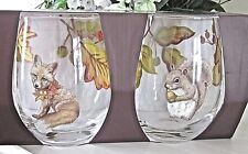 Pier 1 SET OF 2 MAIZY SQUIRREL & CHLOE FOX STEMLESS GLASSES New AUTUMN / FALL