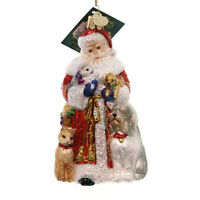 Old World Christmas SANTA'S FURRY FRIENDS Glass Ornament Cat Dog 40288