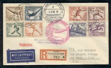 GERMANY 1936, North America flight w/complete Olympic set tied on reg cover