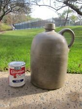 """Antique Stoneware Whiskey Bell Shape 11"""" H Jug with Applied Handle"""