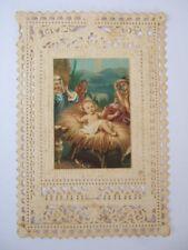CANIVET DENTELLE IMAGE PIEUSE, NAISSANCE ENFANT JESUS CRECHE BREBIS CHIEN BERGER