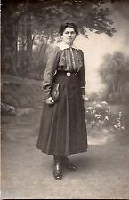BL471 Carte Photo vintage card RPPC Femme mode fashion robe dress sac à main Bag