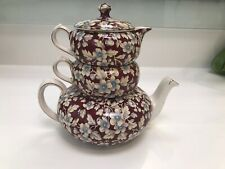 "Lord Nelson Ware Stacking Teapot,Milk & Sugar ""Royal Brocade"" Chintz"