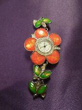 JB Flower & Leaves Wrist Bracelet Watch - Vintage