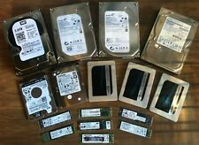 Lot of 16 Various Sizes Used Solid State and Sata Working & Tested Hard Drives