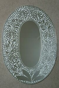 Superb Hand Crafted Mosaic Mirror With Flower Design 70x50 Cm Wide  (W.DEFECTS)
