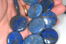 30MM  LAPIS LAZULI  GEMSTONE GRADE AB BUTTON LOOSE BEADS 7""