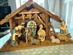 VINTAGE Wooden Nativity Set With  Ceramic Pottery Figures Christmas Stable Scene
