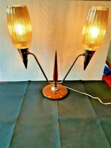 VINTAGE MCM TEAK, BRASS, CARNIVAL GLASS, ATOMIC RETRO STYLE 1950'S TABLE LAMP
