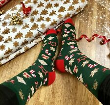 4LCK Funny Christmas green Socks with Gingerbread, perfect gift for men or women