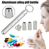 Mini Keyring Pill Holder Medicine Tablet Box Key Chain Drug Container Money_QA
