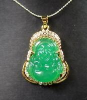Gold Plate Green JADE Pendant Buddha God Necklace Diamond Imitation 100047