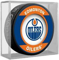 Edmonton Oilers NHL Retro Team Logo Souvenir Hockey Puck in Display Cube