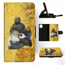 APPLE iPHONE FLIP LEATHER CASE WALLET COVER|BORDER COLLIE DOG 3