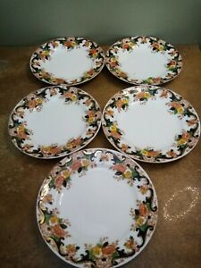 """Set of Five (5) Antique Royal Stafford, Bone China, 7"""" Side Plates Hand Painted"""