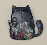 Adorable  artistic  Cat large Pin Brooch in enamel on Metal