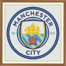 Football Crest Cross Stitch Chart 12.0 x 12.0 inches. the sky blues