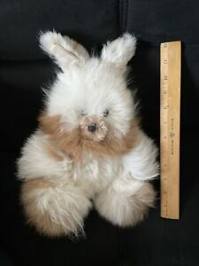 "Alpaca Fleece Fur 12"" White Brown Stuffed Plush Animal Bear Rabbit Bunny"